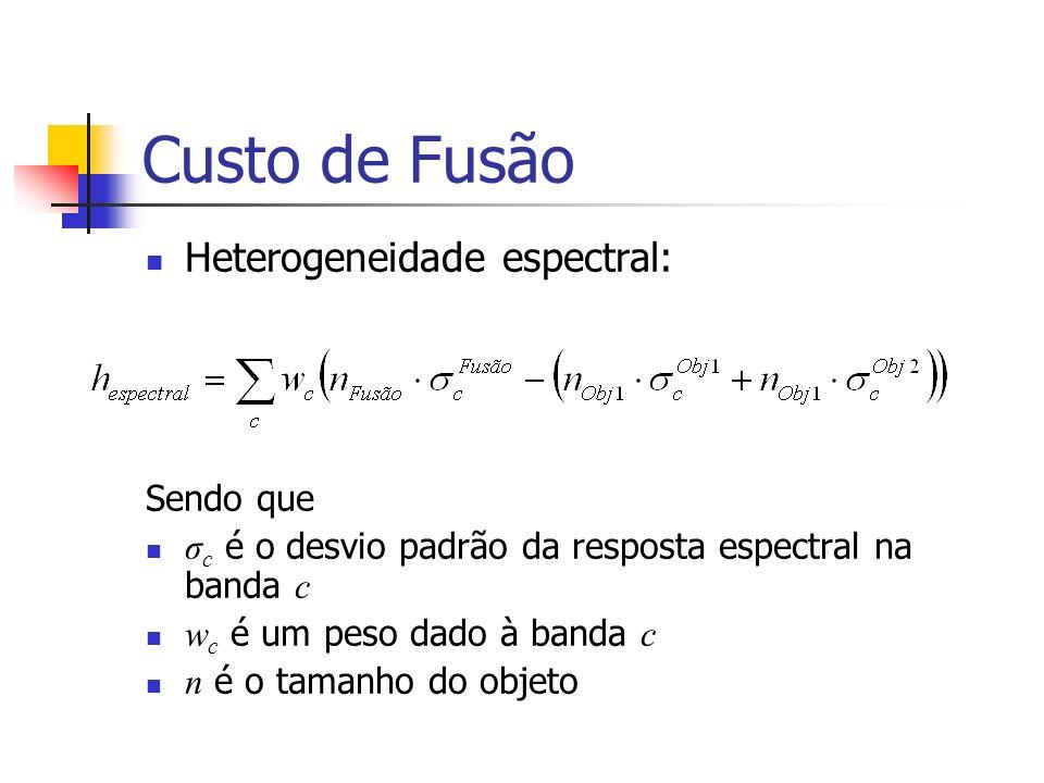 Custo de Fusão Heterogeneidade espectral: Sendo que σ c é o desvio padrão da resposta espectral na banda c w c é um peso dado à banda c n é o tamanho