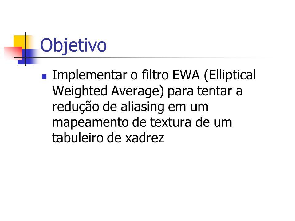 Objetivo Implementar o filtro EWA (Elliptical Weighted Average) para tentar a redução de aliasing em um mapeamento de textura de um tabuleiro de xadre