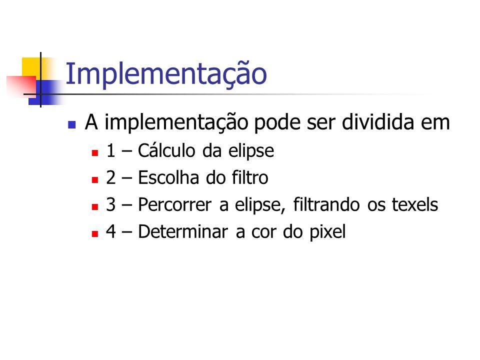 Implementação A implementação pode ser dividida em 1 – Cálculo da elipse 2 – Escolha do filtro 3 – Percorrer a elipse, filtrando os texels 4 – Determi