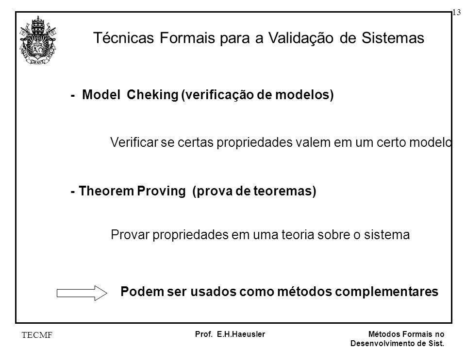 13 Métodos Formais no Desenvolvimento de Sist. Prof. E.H.Haeusler TECMF Técnicas Formais para a Validação de Sistemas - Model Cheking (verificação de