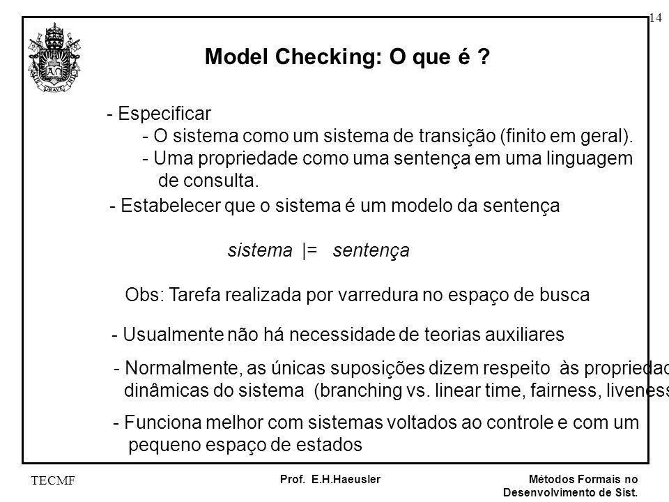14 Métodos Formais no Desenvolvimento de Sist. Prof. E.H.Haeusler TECMF Model Checking: O que é ? - Especificar - O sistema como um sistema de transiç