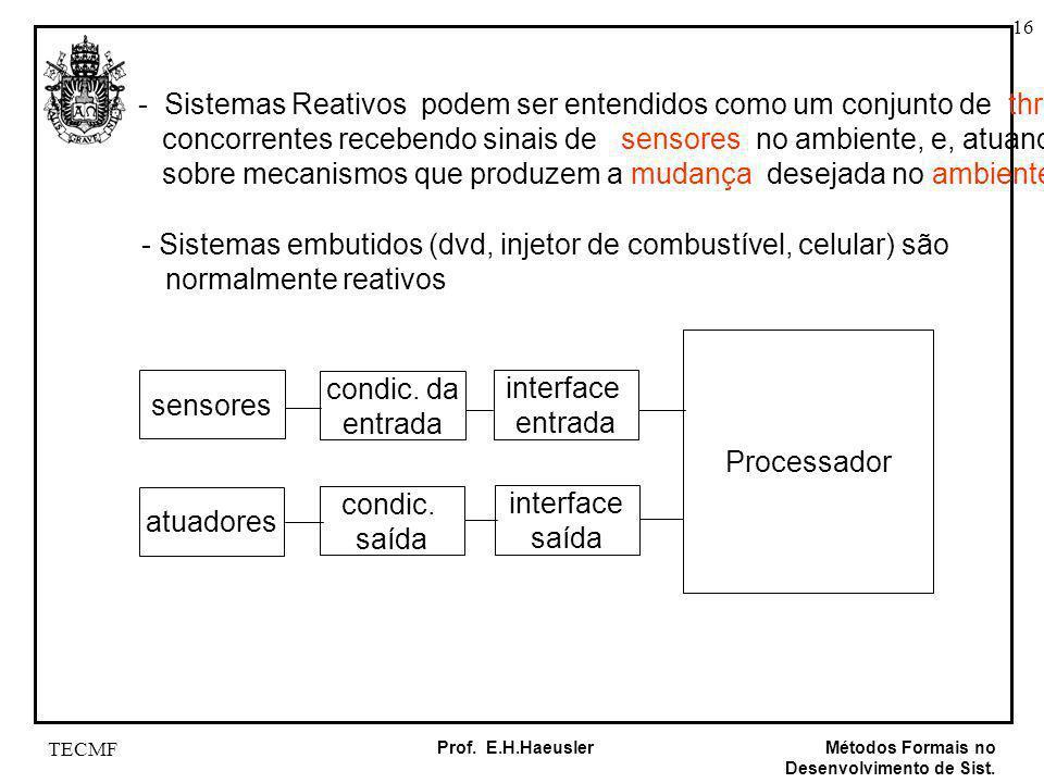 16 Métodos Formais no Desenvolvimento de Sist. Prof. E.H.Haeusler TECMF - Sistemas Reativos podem ser entendidos como um conjunto de threads concorren