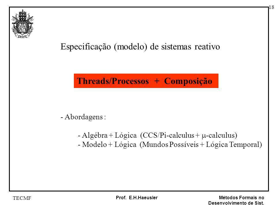 18 Métodos Formais no Desenvolvimento de Sist. Prof. E.H.Haeusler TECMF Especificação (modelo) de sistemas reativo Threads/Processos + Composição - Ab