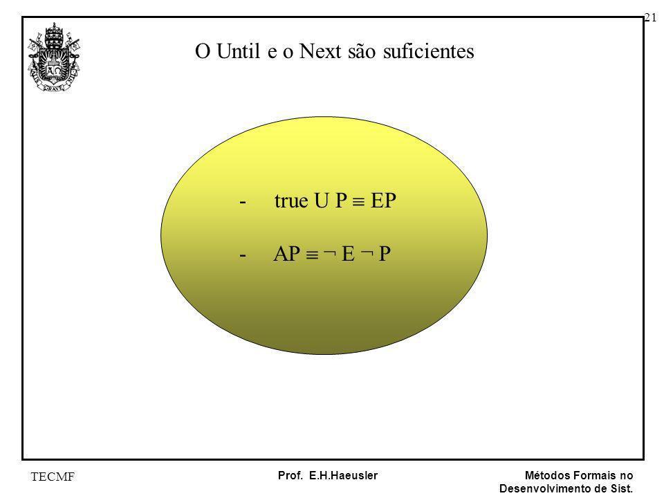 21 Métodos Formais no Desenvolvimento de Sist. Prof. E.H.Haeusler TECMF O Until e o Next são suficientes - true U P EP - AP ¬ E ¬ P