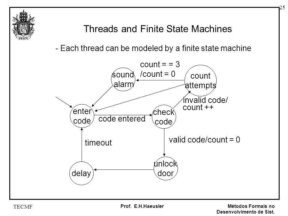25 Métodos Formais no Desenvolvimento de Sist. Prof. E.H.Haeusler TECMF Threads and Finite State Machines - Each thread can be modeled by a finite sta