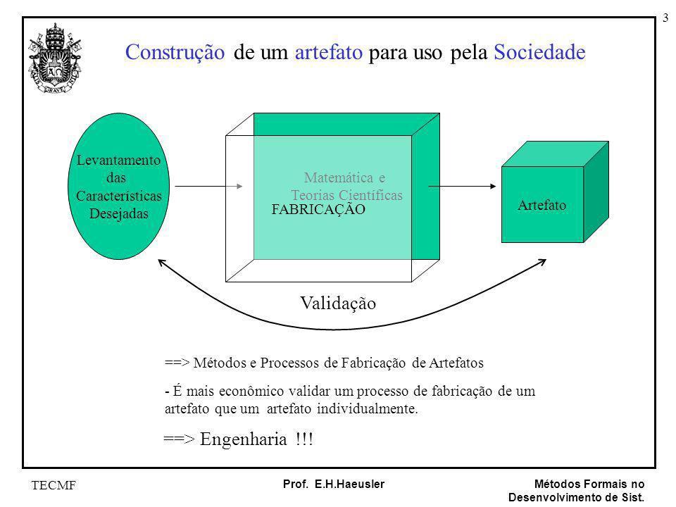3 Métodos Formais no Desenvolvimento de Sist. Prof. E.H.Haeusler TECMF Construção de um artefato para uso pela Sociedade Levantamento das Característi