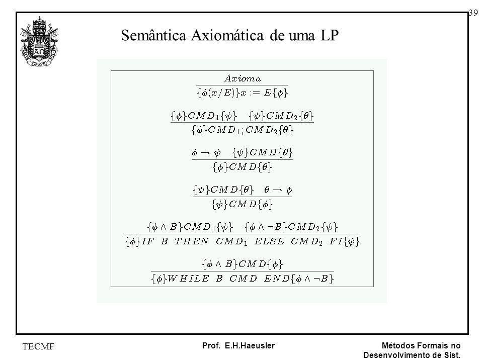 39 Métodos Formais no Desenvolvimento de Sist. Prof. E.H.Haeusler TECMF Semântica Axiomática de uma LP