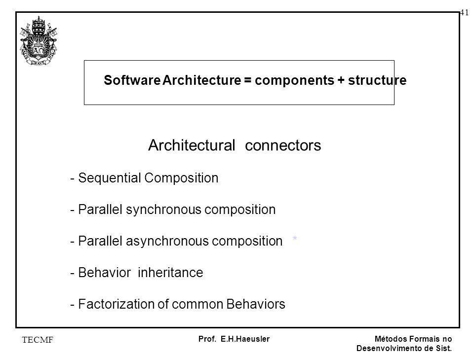 41 Métodos Formais no Desenvolvimento de Sist. Prof. E.H.Haeusler TECMF Architectural connectors - Sequential Composition - Parallel synchronous compo