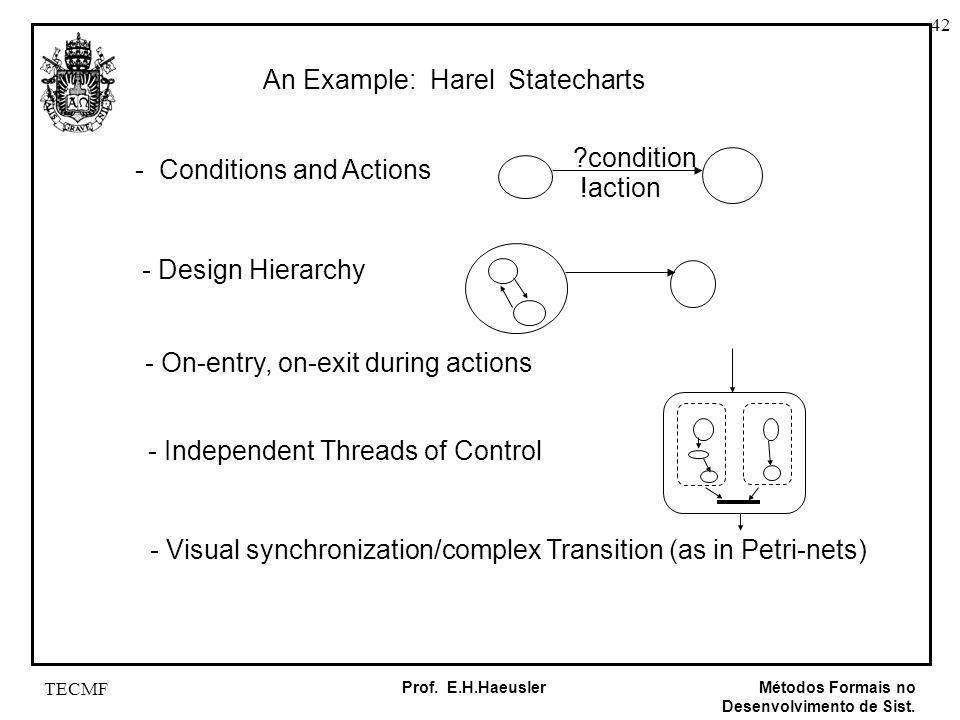42 Métodos Formais no Desenvolvimento de Sist. Prof. E.H.Haeusler TECMF An Example: Harel Statecharts - Conditions and Actions - Design Hierarchy - On