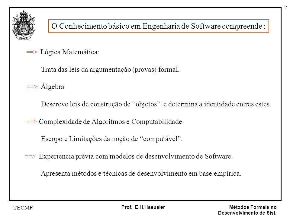 7 Métodos Formais no Desenvolvimento de Sist. Prof. E.H.Haeusler TECMF O Conhecimento básico em Engenharia de Software compreende : ==> Lógica Matemát