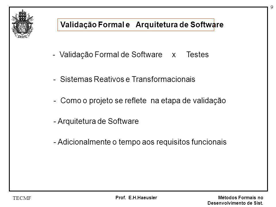 9 Métodos Formais no Desenvolvimento de Sist. Prof. E.H.Haeusler TECMF Validação Formal e Arquitetura de Software - Validação Formal de Software x Tes