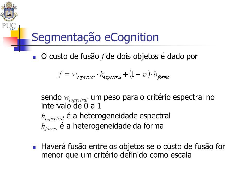 Segmentação eCognition O custo de fusão f de dois objetos é dado por sendo w espectral um peso para o critério espectral no intervalo de 0 a 1 h espec
