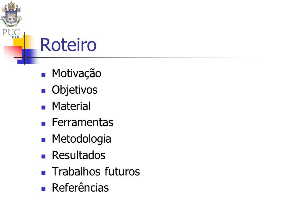 Roteiro Motivação Objetivos Material Ferramentas Metodologia Resultados Trabalhos futuros Referências