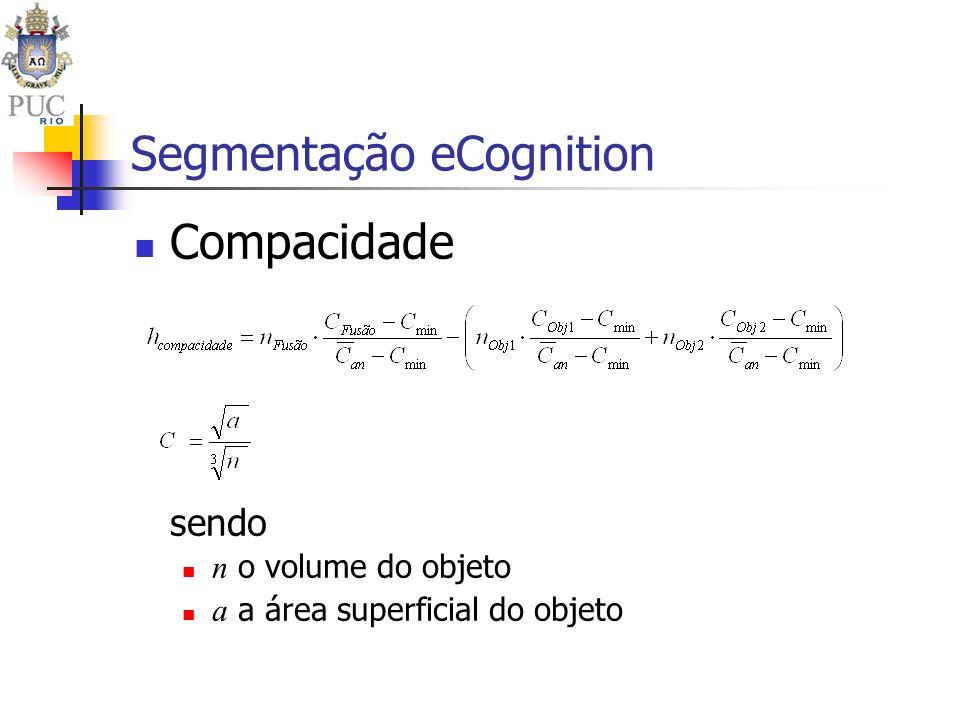 Segmentação eCognition Compacidade sendo n o volume do objeto a a área superficial do objeto