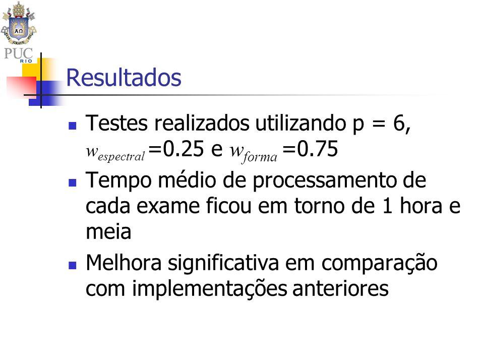 Resultados Testes realizados utilizando p = 6, w espectral =0.25 e w forma =0.75 Tempo médio de processamento de cada exame ficou em torno de 1 hora e