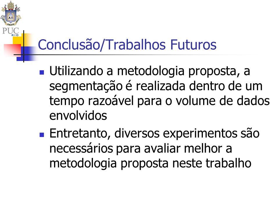 Conclusão/Trabalhos Futuros Utilizando a metodologia proposta, a segmentação é realizada dentro de um tempo razoável para o volume de dados envolvidos