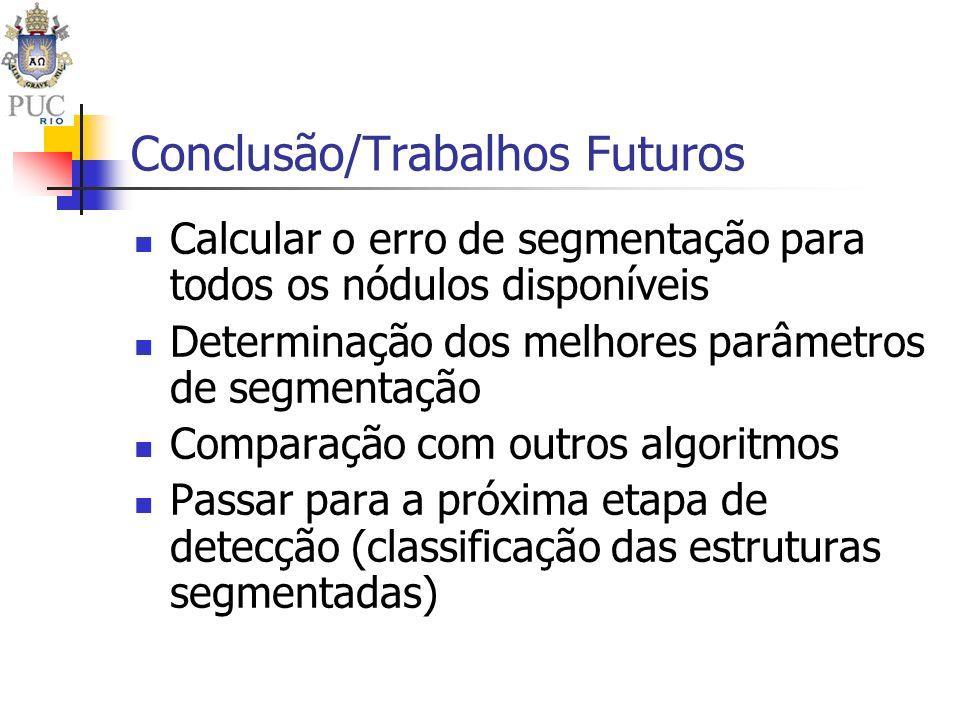 Conclusão/Trabalhos Futuros Calcular o erro de segmentação para todos os nódulos disponíveis Determinação dos melhores parâmetros de segmentação Compa