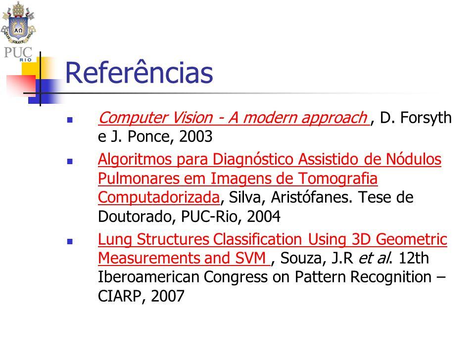 Referências Computer Vision - A modern approach, D. Forsyth e J. Ponce, 2003 Computer Vision - A modern approach Algoritmos para Diagnóstico Assistido