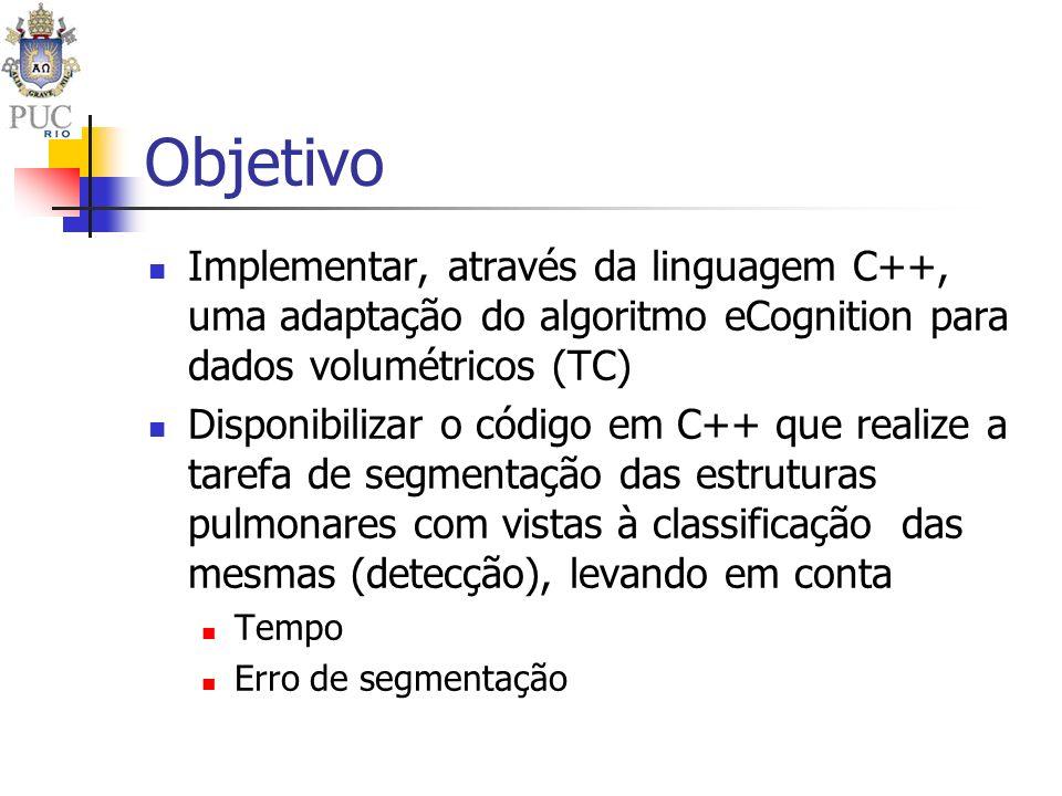 Objetivo Implementar, através da linguagem C++, uma adaptação do algoritmo eCognition para dados volumétricos (TC) Disponibilizar o código em C++ que