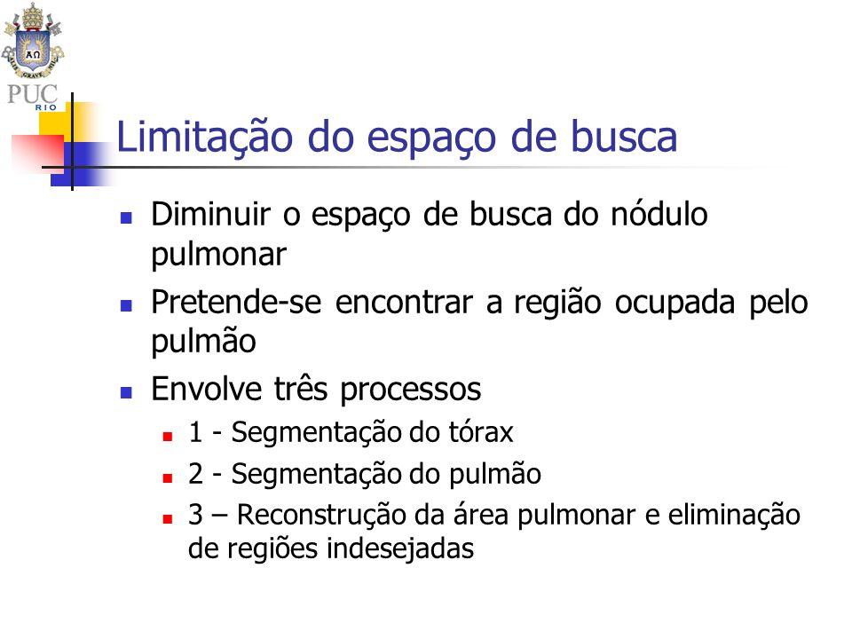Limitação do espaço de busca Diminuir o espaço de busca do nódulo pulmonar Pretende-se encontrar a região ocupada pelo pulmão Envolve três processos 1