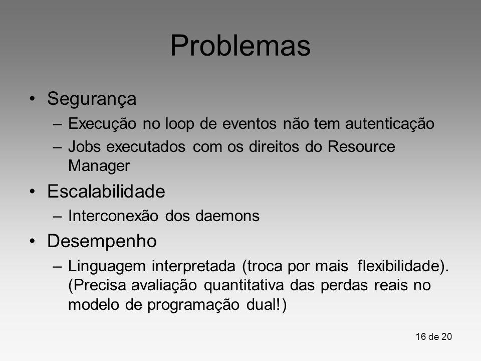 16 de 20 Problemas Segurança –Execução no loop de eventos não tem autenticação –Jobs executados com os direitos do Resource Manager Escalabilidade –In