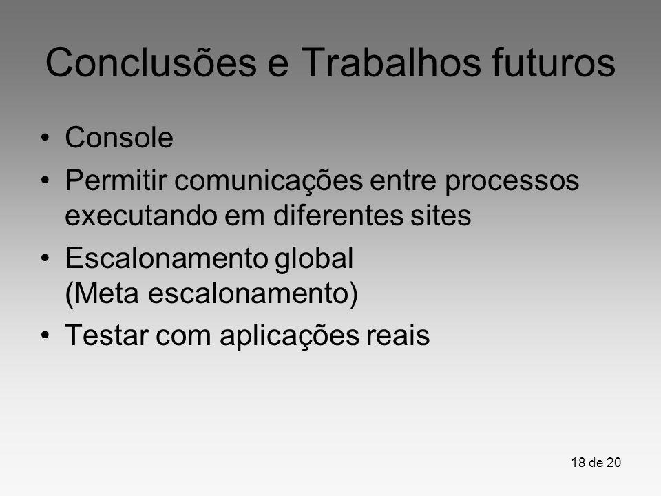 18 de 20 Conclusões e Trabalhos futuros Console Permitir comunicações entre processos executando em diferentes sites Escalonamento global (Meta escalo