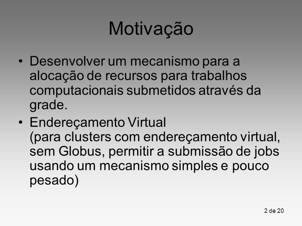 2 de 20 Motivação Desenvolver um mecanismo para a alocação de recursos para trabalhos computacionais submetidos através da grade. Endereçamento Virtua