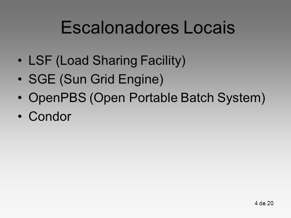 4 de 20 Escalonadores Locais LSF (Load Sharing Facility) SGE (Sun Grid Engine) OpenPBS (Open Portable Batch System) Condor