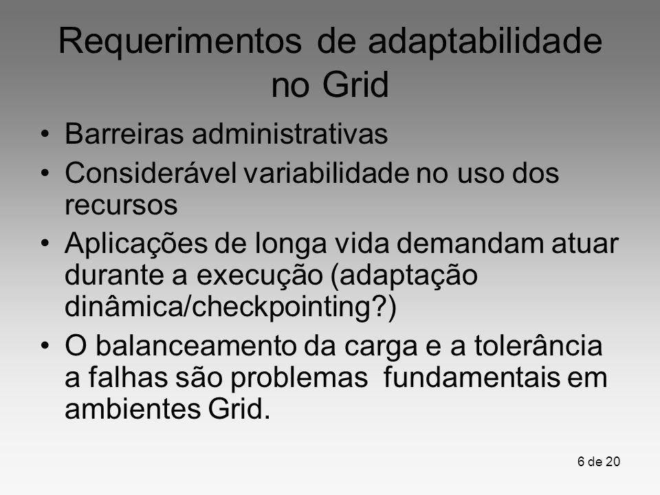 6 de 20 Requerimentos de adaptabilidade no Grid Barreiras administrativas Considerável variabilidade no uso dos recursos Aplicações de longa vida dema