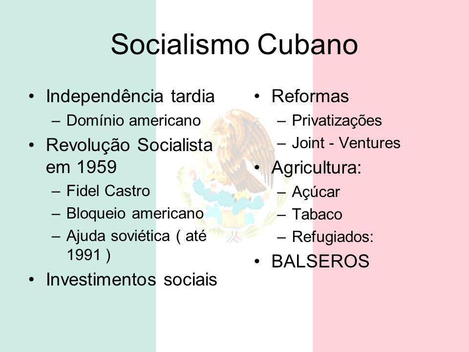 Socialismo Cubano Independência tardia –Domínio americano Revolução Socialista em 1959 –Fidel Castro –Bloqueio americano –Ajuda soviética ( até 1991 )
