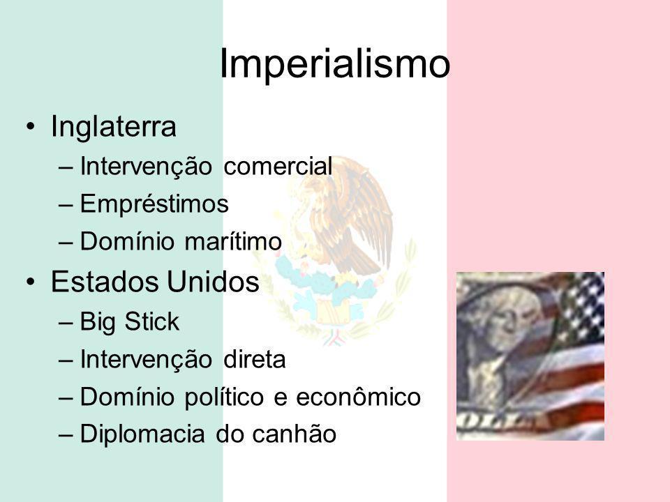 Imperialismo Inglaterra –Intervenção comercial –Empréstimos –Domínio marítimo Estados Unidos –Big Stick –Intervenção direta –Domínio político e econôm