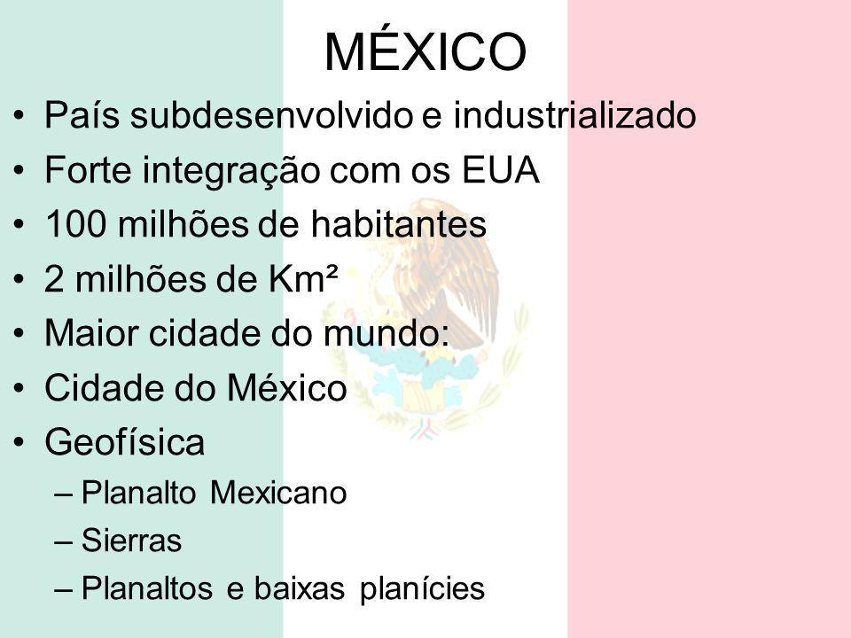 MÉXICO País subdesenvolvido e industrializado Forte integração com os EUA 100 milhões de habitantes 2 milhões de Km² Maior cidade do mundo: Cidade do
