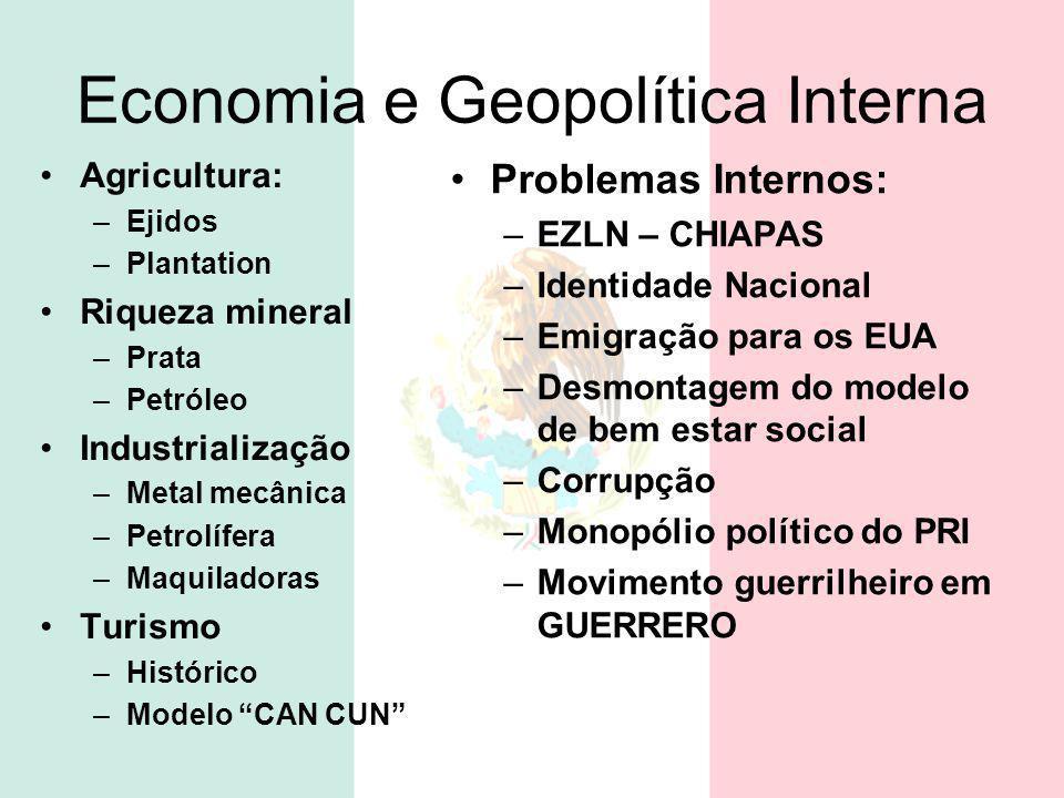 Economia e Geopolítica Interna Agricultura: –Ejidos –Plantation Riqueza mineral –Prata –Petróleo Industrialização –Metal mecânica –Petrolífera –Maquil