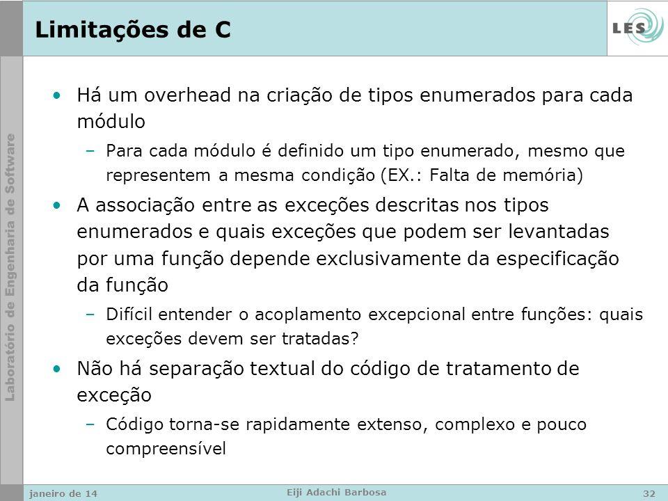 Limitações de C Há um overhead na criação de tipos enumerados para cada módulo –Para cada módulo é definido um tipo enumerado, mesmo que representem a