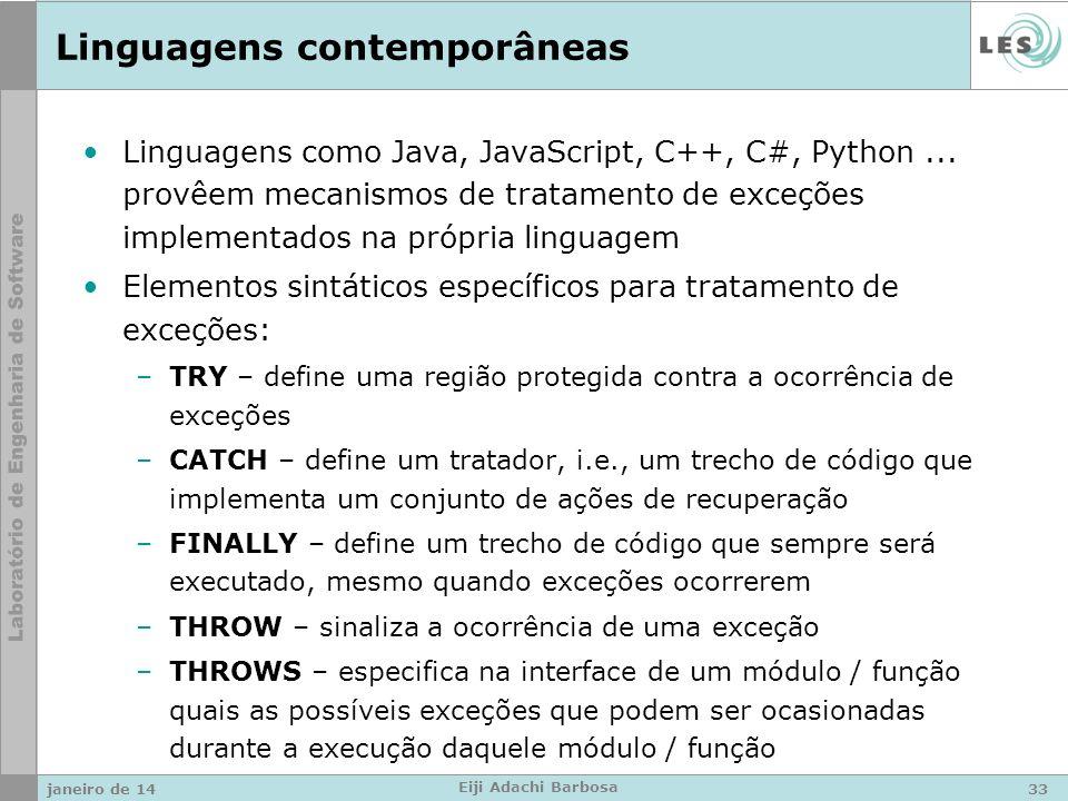 Linguagens contemporâneas Linguagens como Java, JavaScript, C++, C#, Python...
