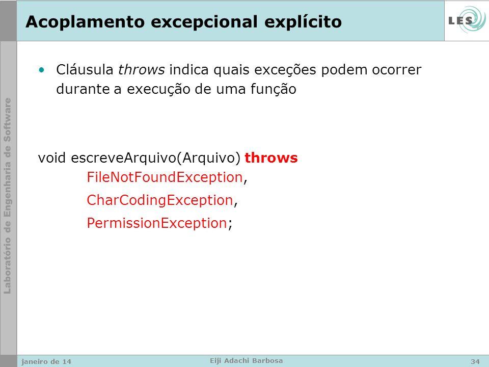 Acoplamento excepcional explícito Cláusula throws indica quais exceções podem ocorrer durante a execução de uma função void escreveArquivo(Arquivo) throws FileNotFoundException, CharCodingException, PermissionException; janeiro de 1434 Eiji Adachi Barbosa