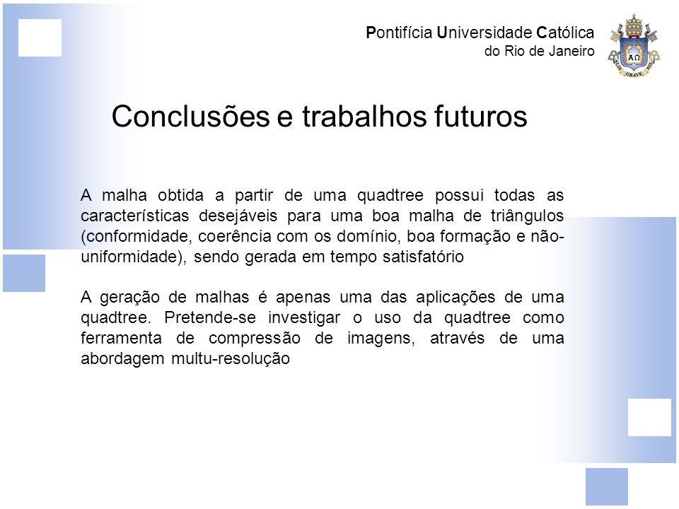 Pontifícia Universidade Católica do Rio de Janeiro Conclusões e trabalhos futuros A malha obtida a partir de uma quadtree possui todas as característi