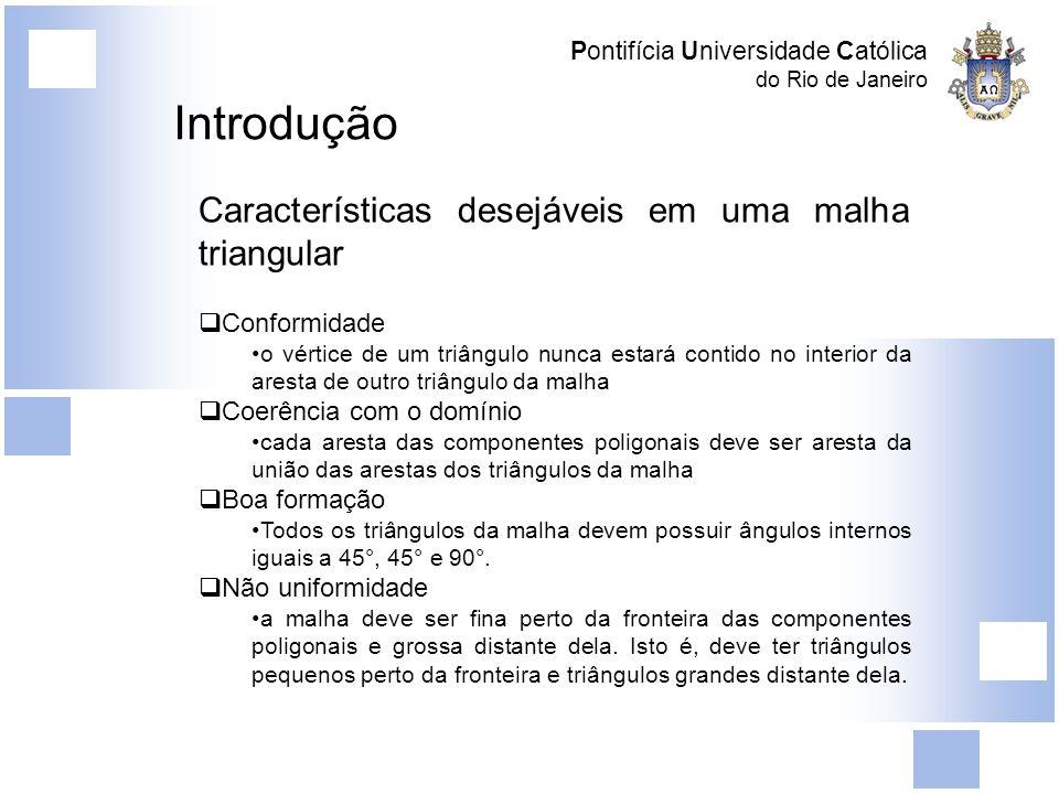 Pontifícia Universidade Católica do Rio de Janeiro Geração de Malhas Os ângulos internos dos polígonos são sempre iguais a 45 o, 90 o, e 135 o Balanceamento da quadtree garante que dada qualquer aresta da mesma, esta não conterá mais do que um vértice de quadrados vizinhos em seu interior Triangulação de Steiner Se um quadrado contém, no interior de suas arestas, o vértice de um quadrado vizinho inserimos um ponto extra (ponto de Steiner) no centro do quadrado e unimos cada dos vértices do quadrado (inclusive os vértices no interior das arestas) a este ponto Obtemos dessa maneira uma malha que continua composta de triângulos bem formados e agora conformes