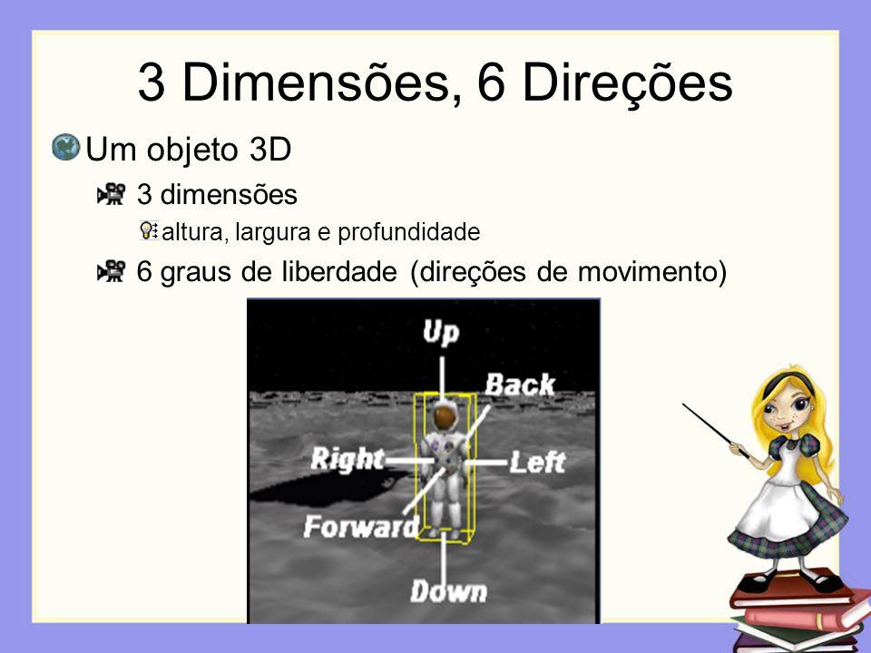 3 Dimensões, 6 Direções Um objeto 3D 3 dimensões altura, largura e profundidade 6 graus de liberdade (direções de movimento)