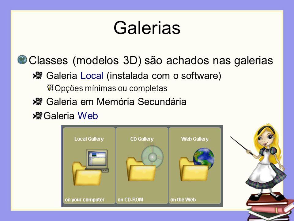 Galerias Classes (modelos 3D) são achados nas galerias Galeria Local (instalada com o software) Opções mínimas ou completas Galeria em Memória Secundá