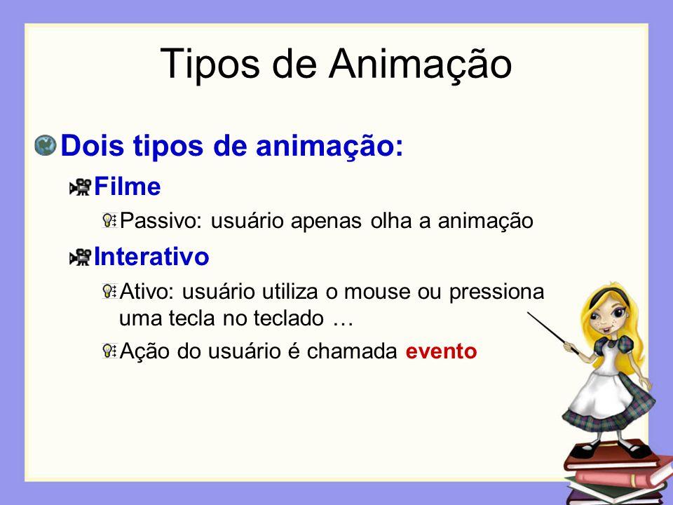 Tipos de Animação Dois tipos de animação: Filme Passivo: usuário apenas olha a animação Interativo Ativo: usuário utiliza o mouse ou pressiona uma tec
