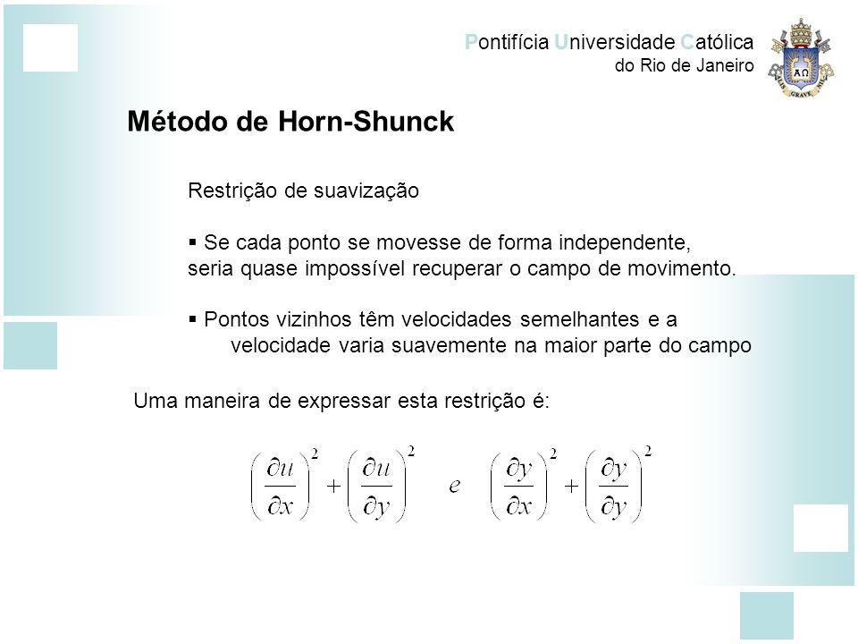 Pontifícia Universidade Católica do Rio de Janeiro Método de Horn-Shunck Restrição de suavização Se cada ponto se movesse de forma independente, seria