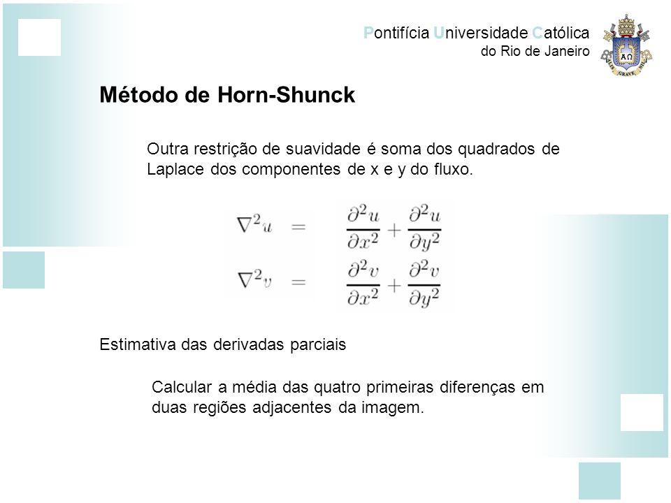 Pontifícia Universidade Católica do Rio de Janeiro Método de Horn-Shunck Outra restrição de suavidade é soma dos quadrados de Laplace dos componentes