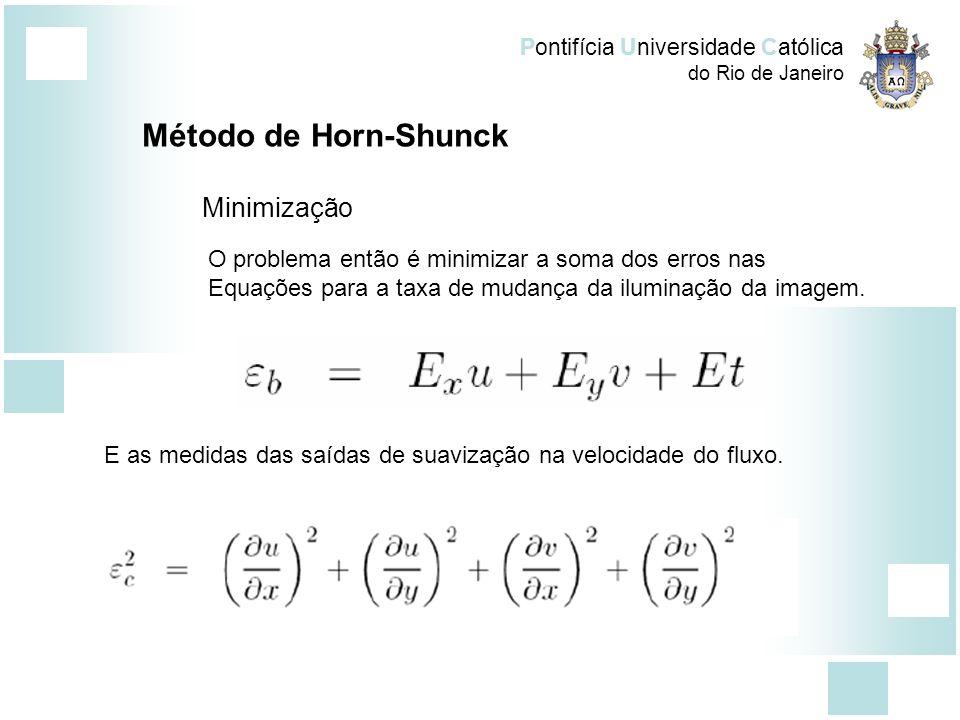 Pontifícia Universidade Católica do Rio de Janeiro Método de Horn-Shunck Minimização O problema então é minimizar a soma dos erros nas Equações para a