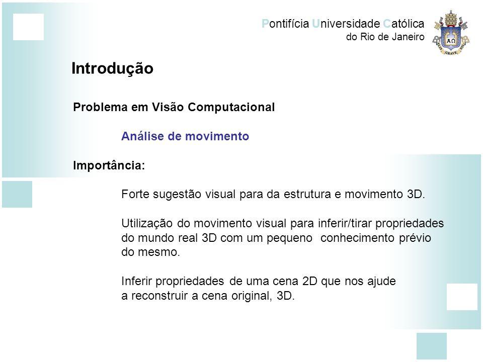 Pontifícia Universidade Católica do Rio de Janeiro Introdução Problema em Visão Computacional Análise de movimento Importância: Forte sugestão visual