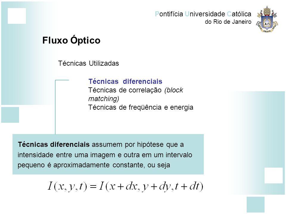 Pontifícia Universidade Católica do Rio de Janeiro Técnicas diferenciais Técnicas de correlação (block matching) Técnicas de freqüência e energia Flux