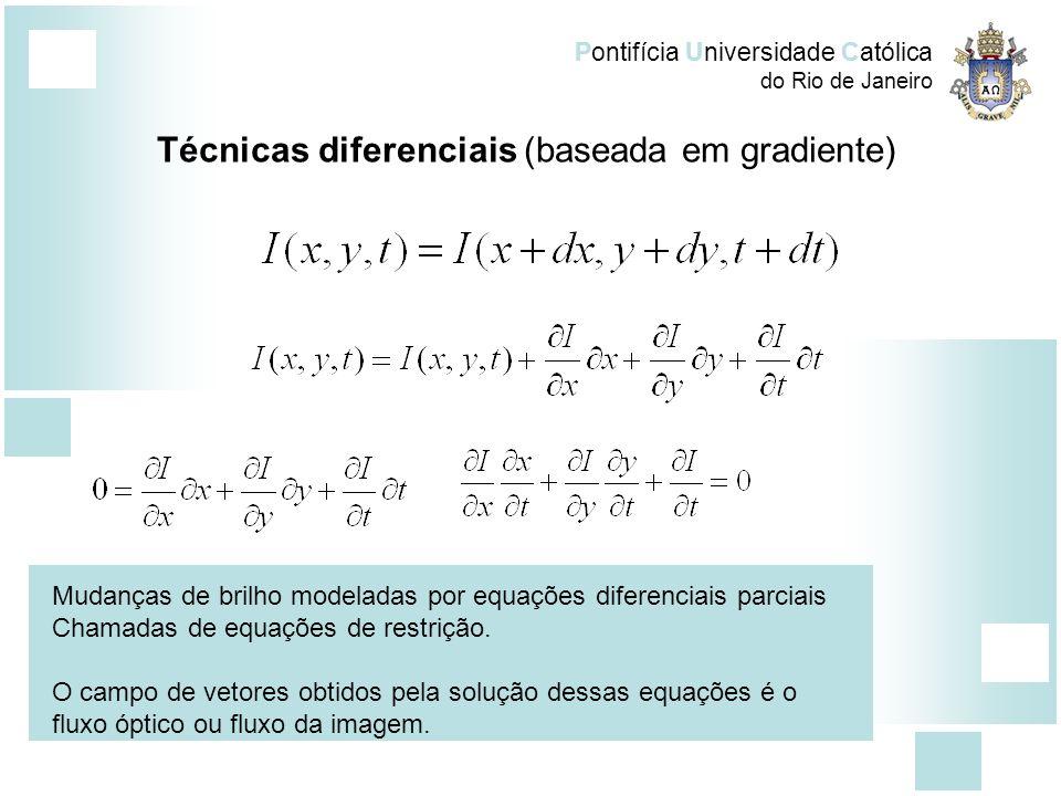 Pontifícia Universidade Católica do Rio de Janeiro Técnicas diferenciais (baseada em gradiente) Assim temos, onde, Somente a equação anterior não é suficiente para determinar as componentes de velocidade Técnicas de estimativa : Horn-Shunck, Lucas e Kanade Abordagem densa X esparsa.