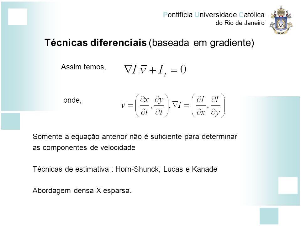 Pontifícia Universidade Católica do Rio de Janeiro Método de Horn-Shunck Restrição de iluminação constante Iluminação em (x,y) é descrita por E(x,y,t):