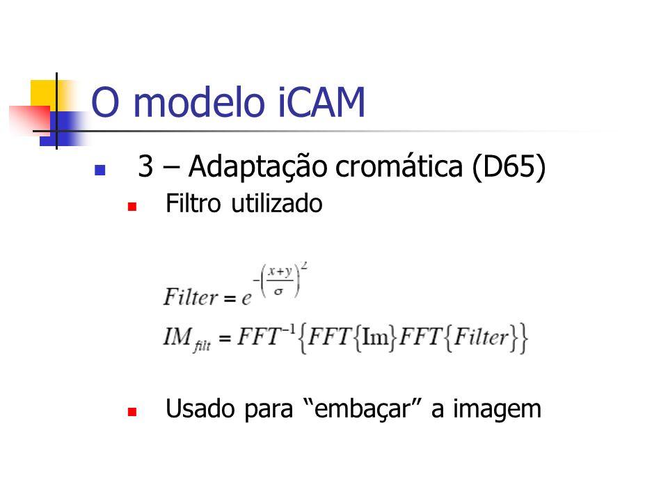 O modelo iCAM 3 – Adaptação cromática (D65) Filtro utilizado Usado para embaçar a imagem