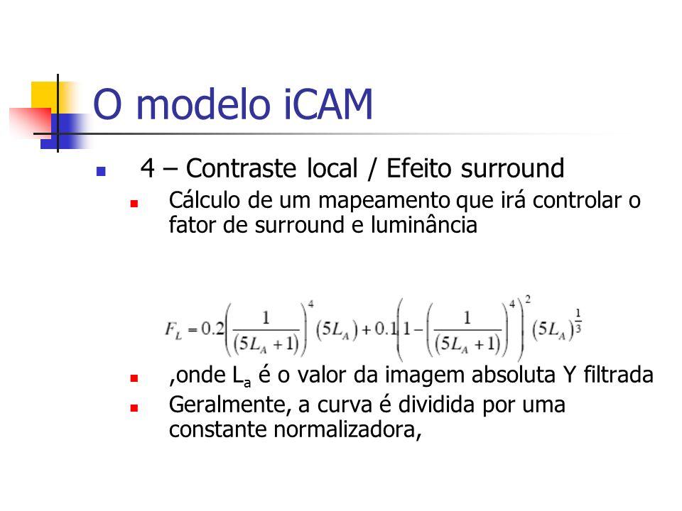 O modelo iCAM 4 – Contraste local / Efeito surround Cálculo de um mapeamento que irá controlar o fator de surround e luminância,onde L a é o valor da